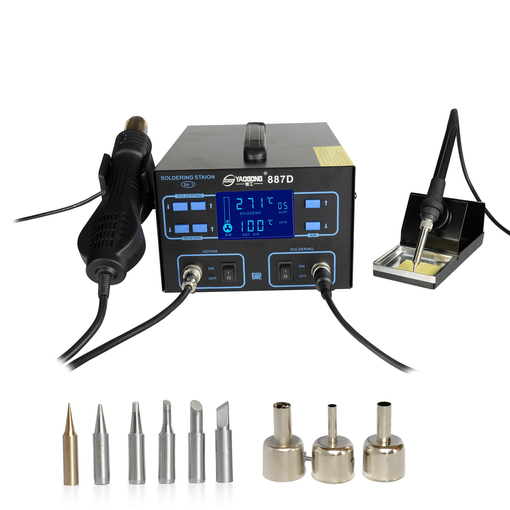 YAOGONG 887D# New Hot Air 2 IN 1 LCD Automatic Sleep Soldering Iron And Air Gun Smd Rework Station Manual/Automatic Exchange With 6 Pieces Iron Tips(Warranty) by YAOGONG (Image #1)
