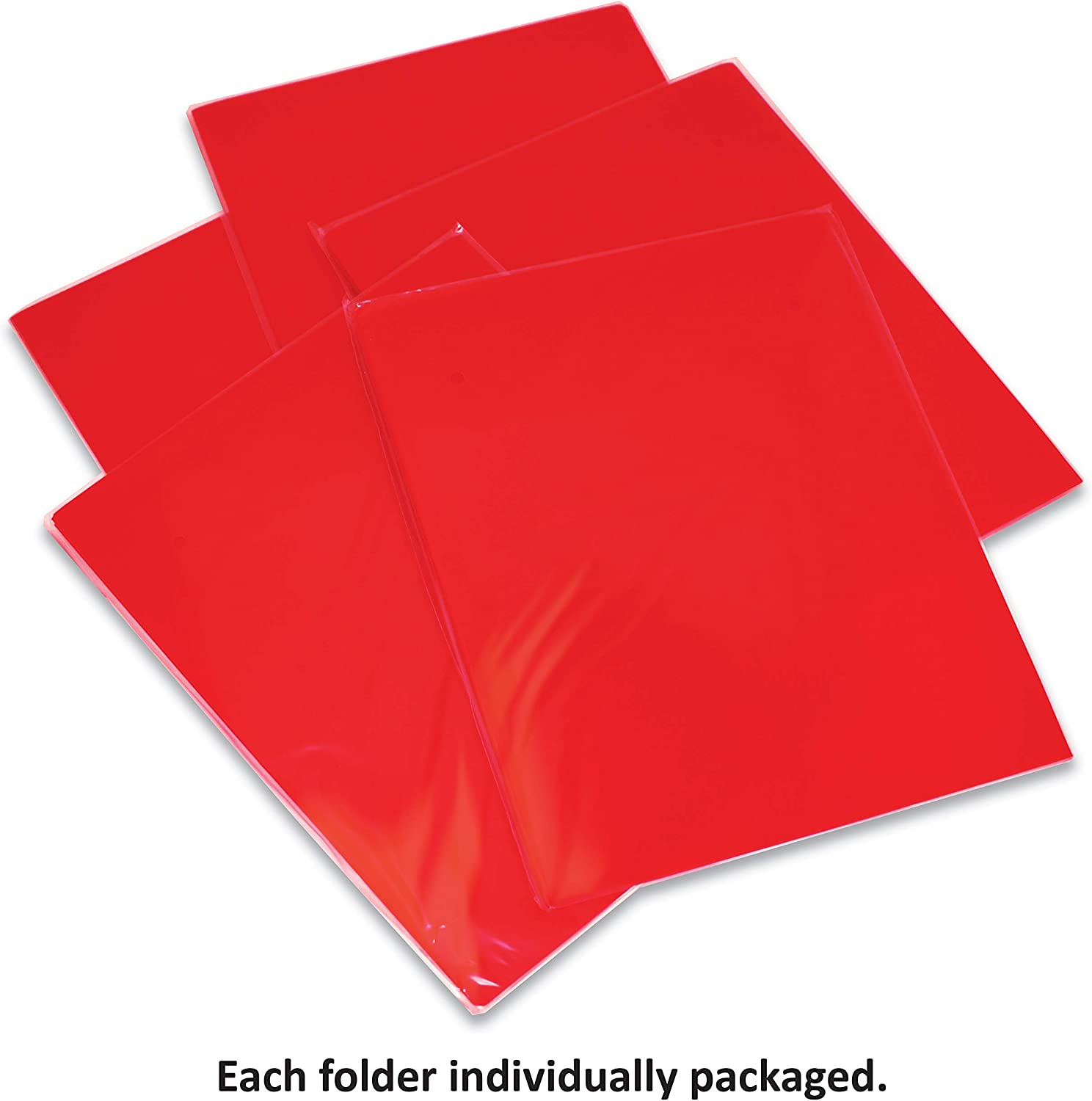 12 Pack High Sheen Reflective Finish Extra Heavyweight Red Plastic 2 Pocket Portfolio Folders Premium Letter Size Folders by Gold Seal 12 Pack Poly Folders Red