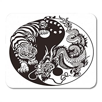 Amazon Com Emvency Mouse Pads Chinese Dragon And Tiger Yin Yang