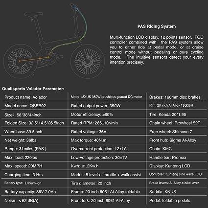 Qualisports - Bicicleta eléctrica híbrida de 20 pulgadas con ...
