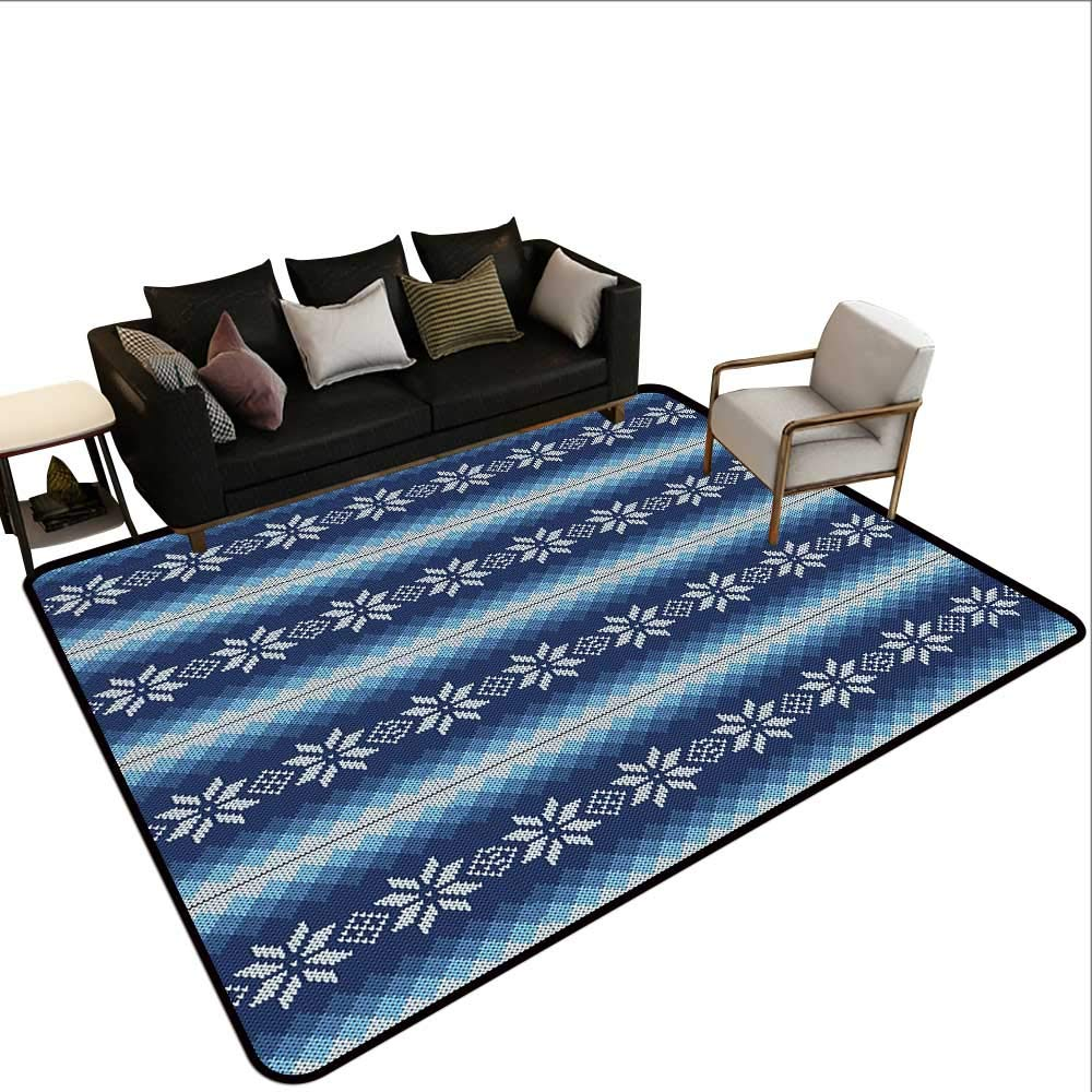Custom Pattern Floor mat,Traditional Scandinavian Needlework Inspired Pattern Jacquard Flakes Knitting Theme 6'6''x9',Can be Used for Floor Decoration