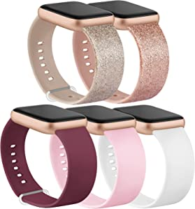 IEOVIEE [Pack 5] Compatible with Apple Watch Bands 38mm 42mm Series 6 5 4 3 2 1 & SE (Glitter Rose Gold/Glitter Silver/Wine Red/White/Pink, 42mm/44mm-S/M)
