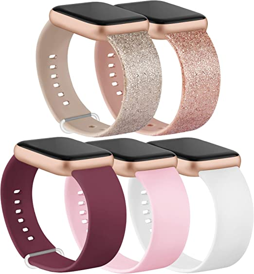 Amazon Com Ieoviee Pack 5 Compatible With Apple Watch Bands 38mm 42mm Series 6 5 4 3 2 1 Se Glitter Rose Gold Glitter Silver Wine Red White Pink 38mm 40mm S M
