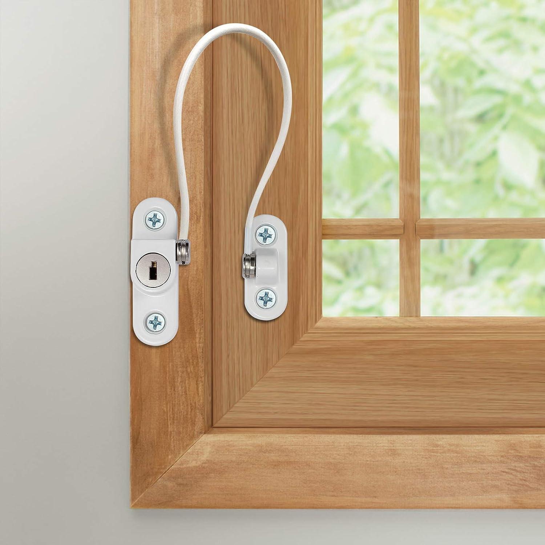 Brown eSynic 8 Pack Window Restrictor UPVC Door Restrictor for Child Baby Safety Security Cable Window Locks Door Locks with Screws Keys