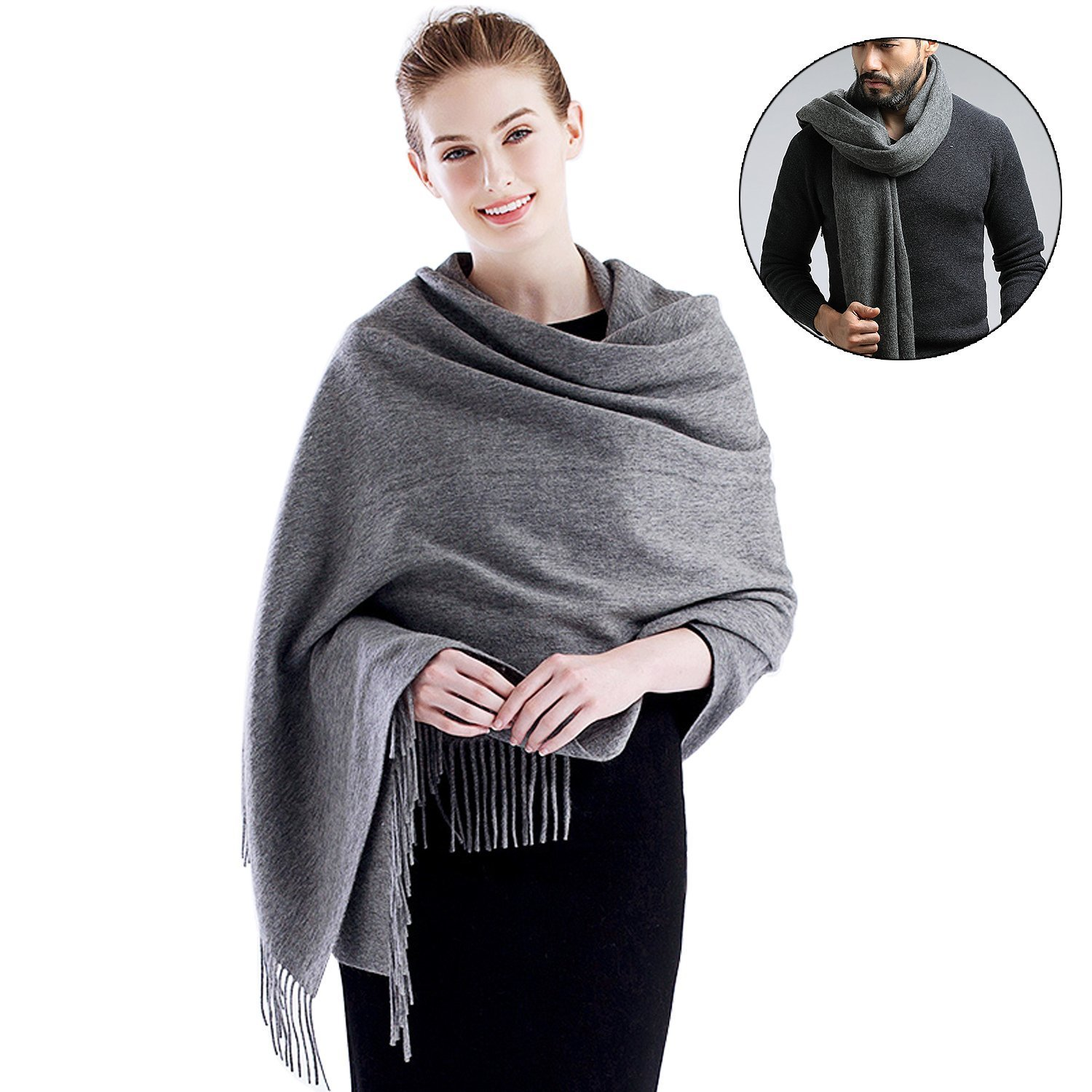MOCOFO Wool Scarfs,Soft Cashmere Feel Large Shawl for Women and Men, Stole Scarfs for Winter