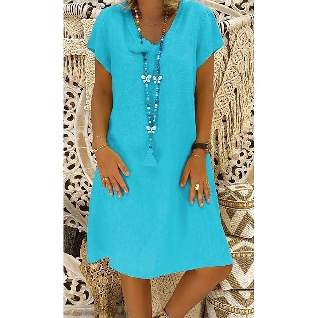 WINNNGOO Woman Bohemian Style Short Sleeves Solid Color High Waist Retro Short Dress Strapless Strap Swing Linen Dress