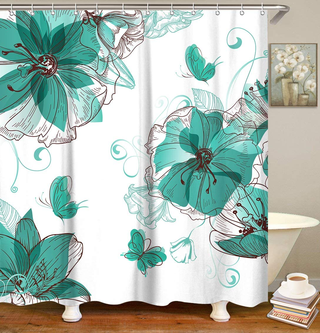 LIVILAN Lily Butterfly Shower Curtain Set with 12 Hooks, Watercolor Floral Fabric Bath Curtain Home Decorations Home Curtain Machine Washable, 72 by 72 Inches