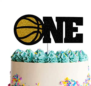 Basketball One Cake Topper,Sport Theme First Birthday Cake Decor fo One Years Old,Happy 1st Birthday Party Decorations