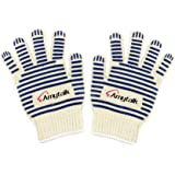 BBQ Grill Oven Mitts, Amytalk 932°F Extreme Heat Resistant Oven Gloves - Safety Grill Fireproof Gloves with Non-slip Silicone Strips for Cooking, Grilling, Baking,Oven Trays or Pot Holders