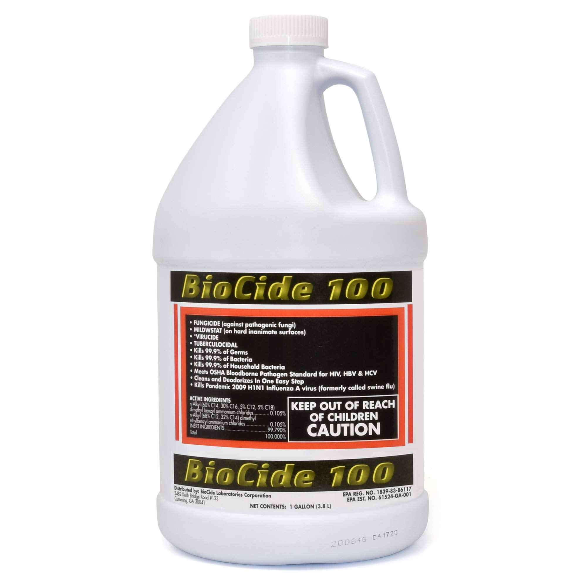 Biocide 100 Multi-Purpose Cleaner and Disinfectant Spray | DIY Mold, Mildew and Fungi Remover | Eliminates Bacteria, Germs and Viruses | 1-Gallon