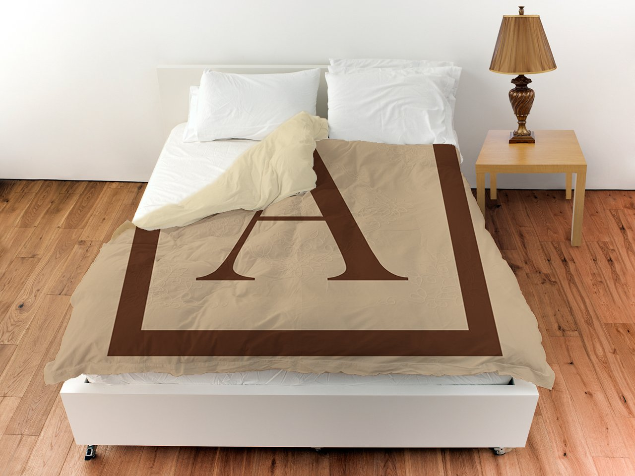 Manual Woodworkers & Weavers Duvet Cover, Queen/Full, Monogrammed Letter A, Caramel Classic Block