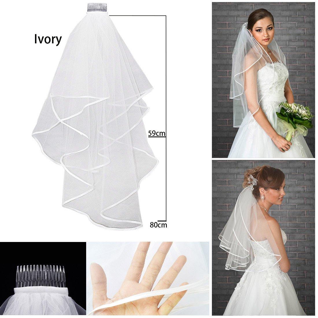 disponible en 2 colores con peineta Velo para novias color blanco de la marca JJOnlinestore