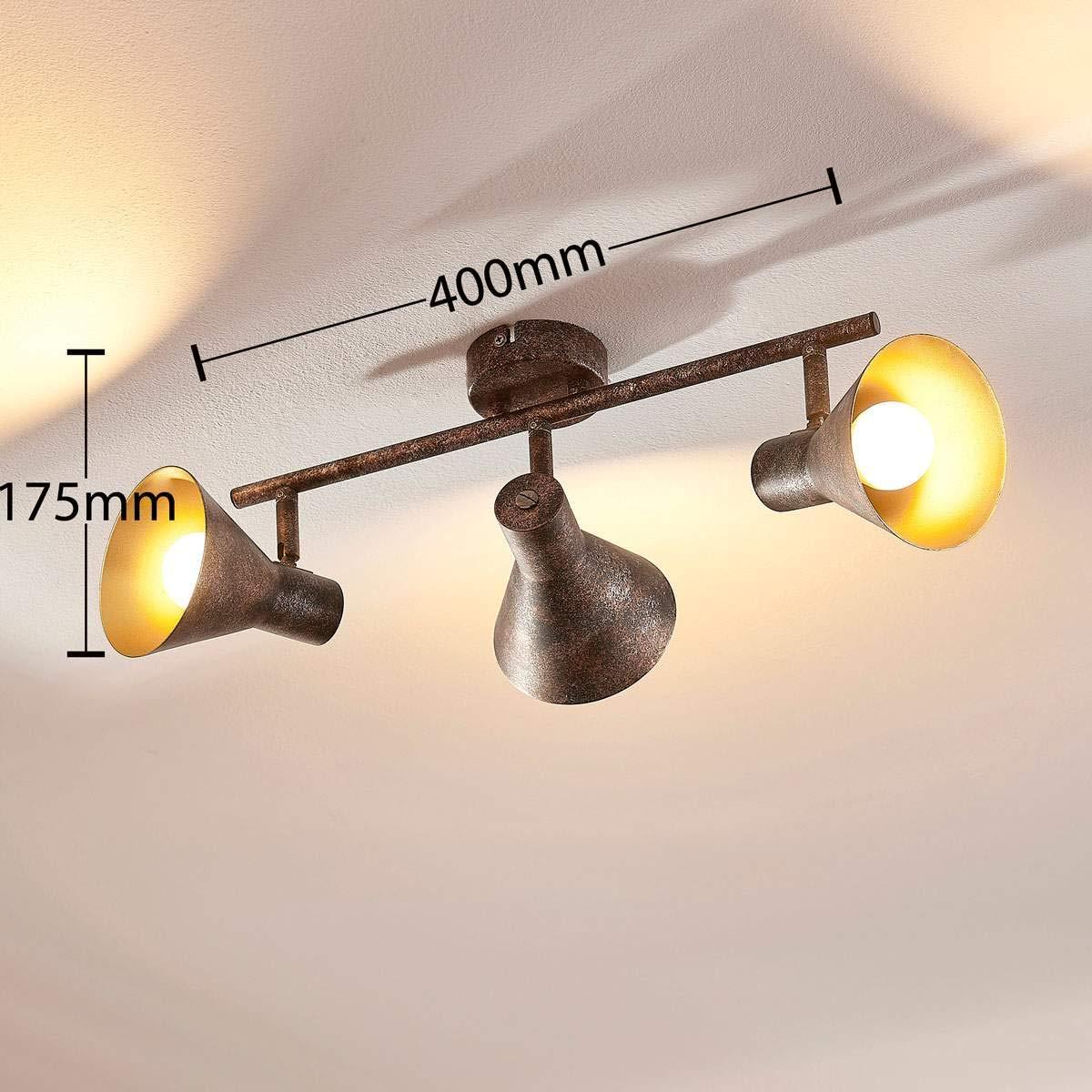 f/ür Wohnzimmer /& Esszimmer Deckenlampe 3 flammig, E14, A+, inkl. Leuchtmittel Lampenwelt LED Deckenleuchte Zera dimmbar LED-Deckenlampe - Lampe Retro, Vintage, Antik in Braun aus Metall u.a