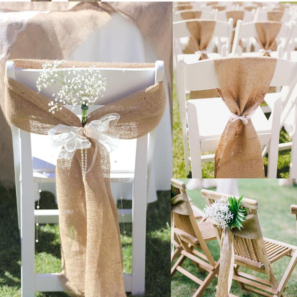 sarvam fashion SF_New Natural Burlap Jute Chair Bow Sashes for Wedding Party Decor 6.5'' X 108'' Pack of (1) by sarvam fashion (Image #4)