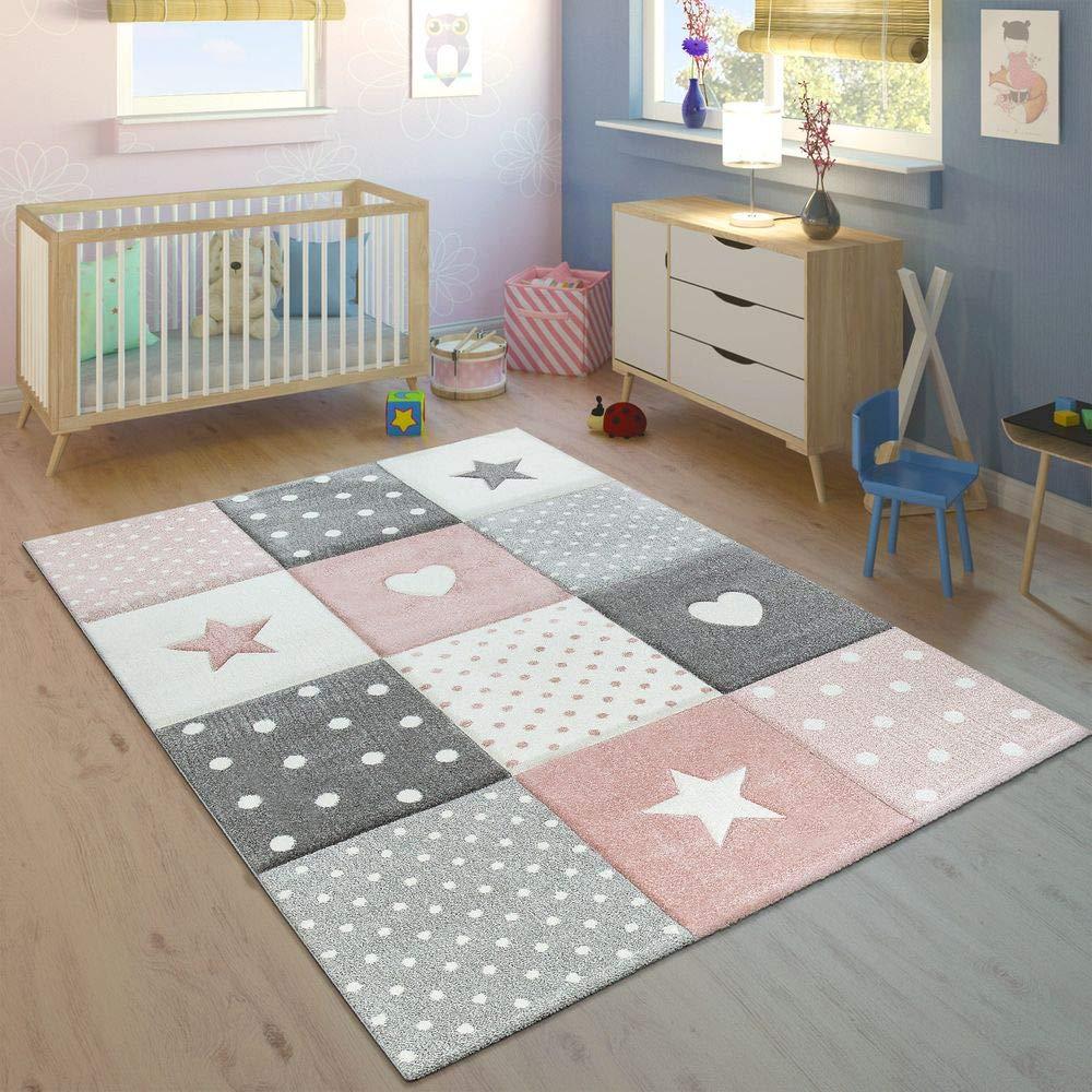 Paco Home Kinderteppich Pastellfarben Kariert Punkte Herzen Sterne Weiß Grau Rosa, Grösse 200x290 cm
