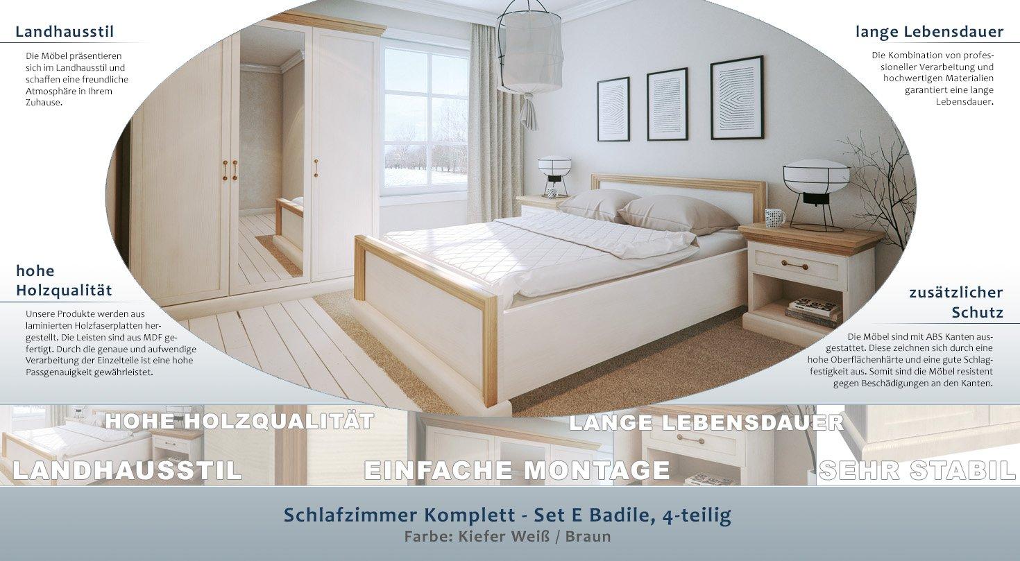 Schlafzimmer Komplett Set E Badile 4 Teilig Farbe Kiefer Weiss