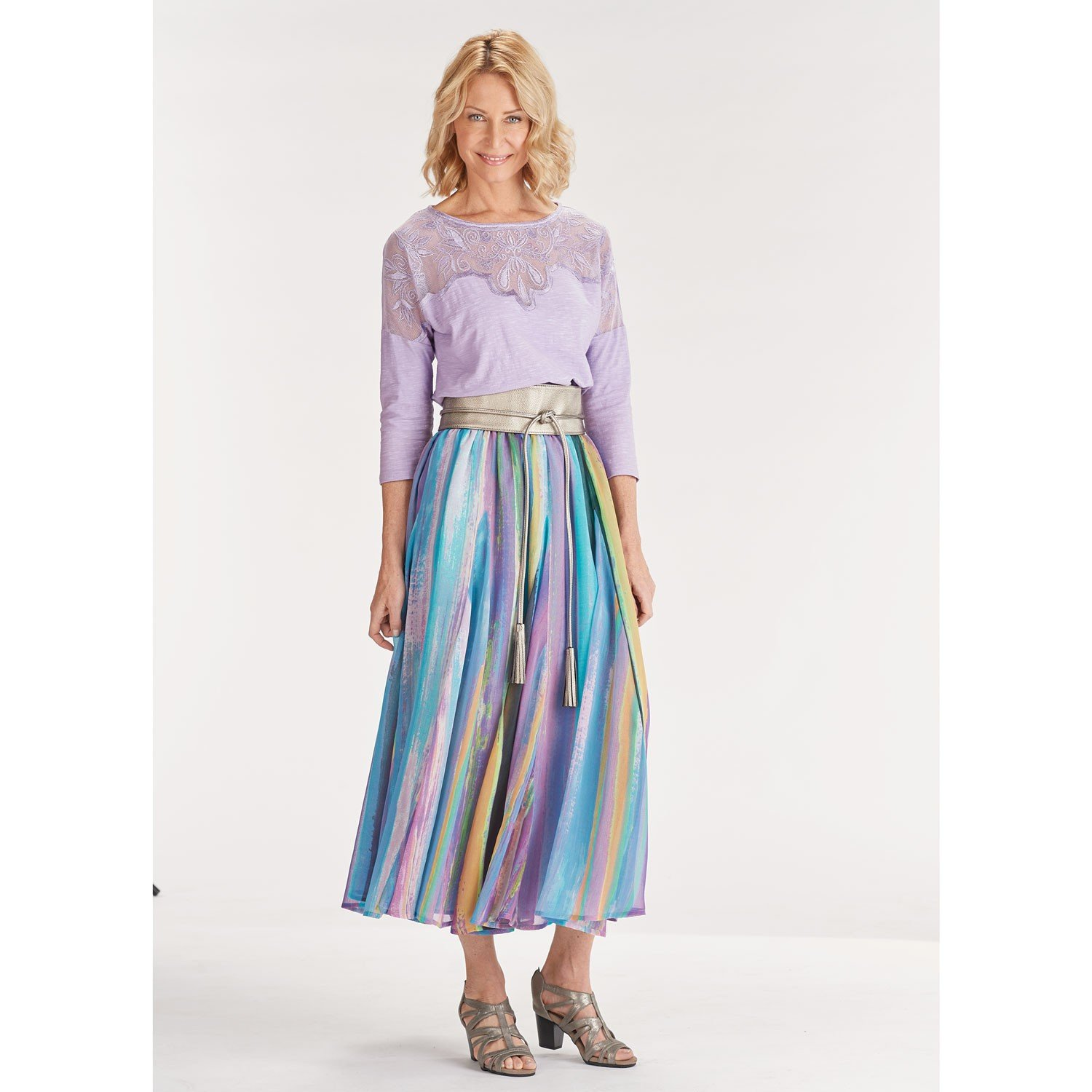 April Cornell Long Peasant Skirt - Waterlily Crinkle Print with Elastic Waist - 1X