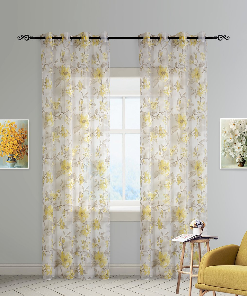 DEZENE Floral Tulle Curtains for Girls Bedroom Window Treatments Drapes Panel Sheer Curtain Yellow flowers