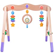 Imagination Generation Little Olympians Wooden Baby Play Gym | Infant Sensory/Motor Activity Center with Cute Shapes and Colors