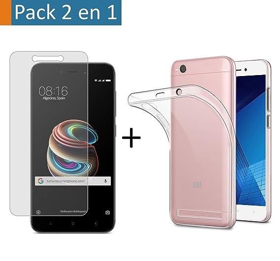 Pack 2 En 1 Funda Gel Transparente + Protector Cristal Templado para Xiaomi Redmi 5A 5