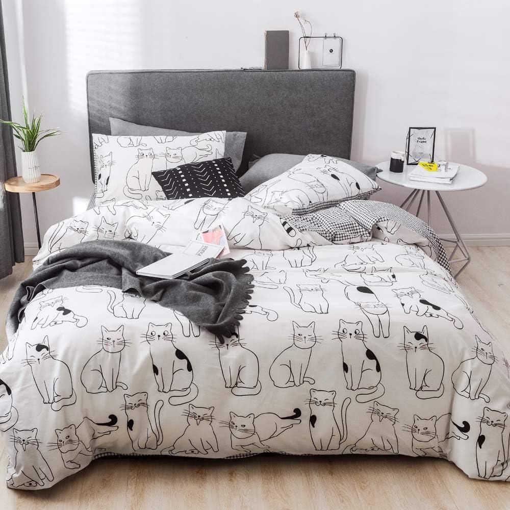 HIGHBUY Kids Cat Pattern Duvet Cover Twin Gray 100 Percent Cotton Bedding Duvet Cover Set Twin 3 Pieces for Teens Girls Boys,Children Reversible Twin Bedding Sets,Lightweight Soft,Twin