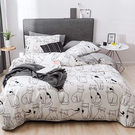 Amazon.com: HIGHBUY Kids Cat Pattern Duvet Cover Twin Gray 100