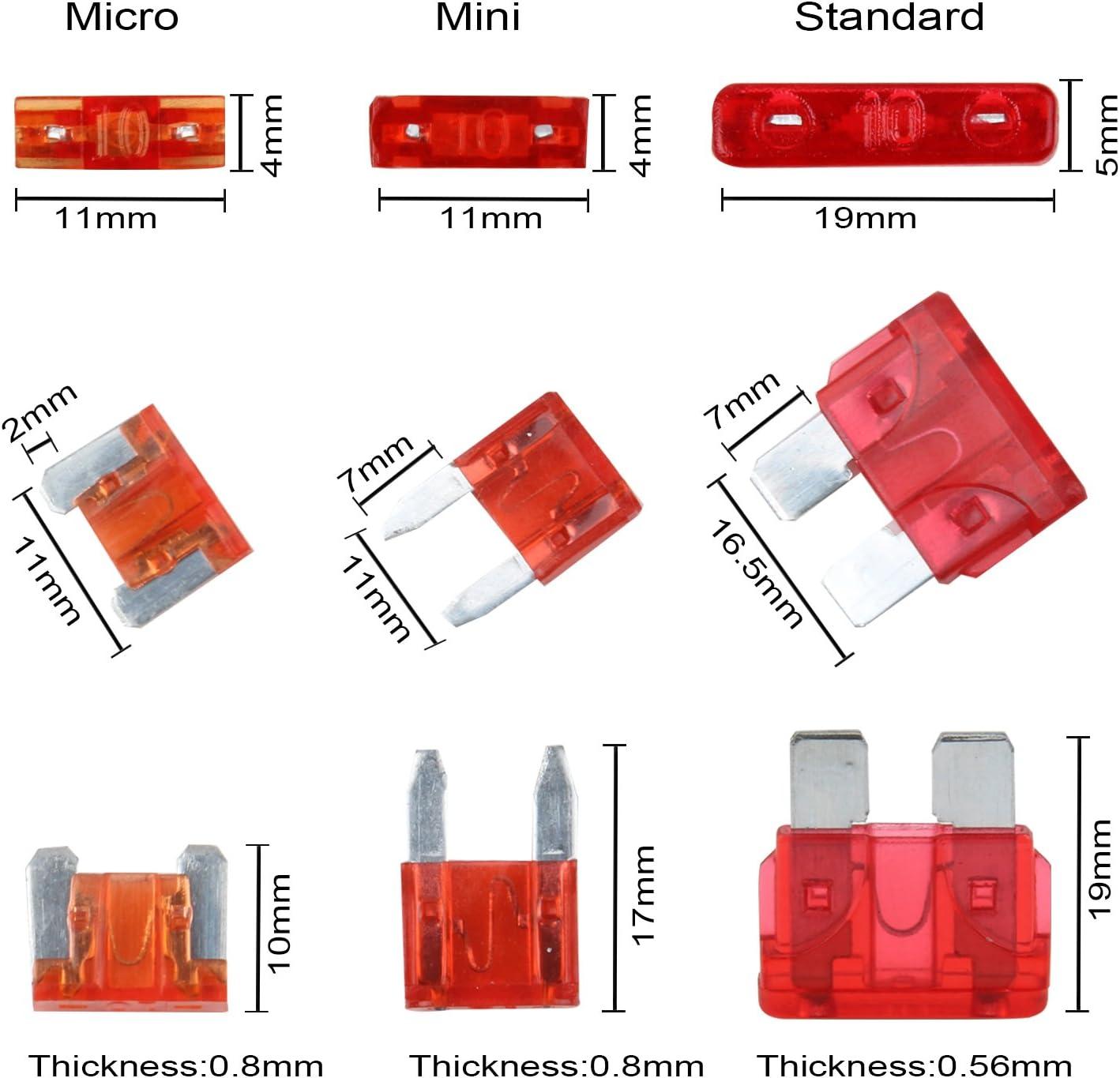 7,5 A 3 A 20 A 2 A 1 caja de transporte Kit de fusibles de repuesto para coche de TKING 100 unidades 15 A 10 A con 1 extractor de fusibles 25 A 5 A 30 A y 35 A