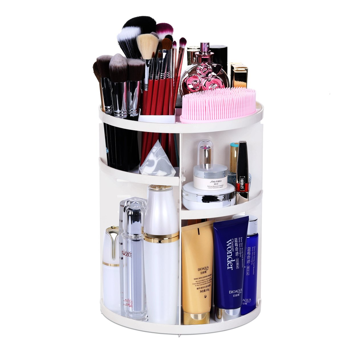 Aspior Makeup Organizers Cosmetic Storage Holder 360 Degree Rotation Case Adjustable Large Capacity 7 Layers for Bathroom Countertop Make-up Brushes Skin Care Products Lipsticks Display(White)