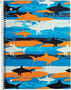 Staples 2842740 1 Subject Notebook Wide Ruled Sharks 8-Inch X 10-1/2-Inch