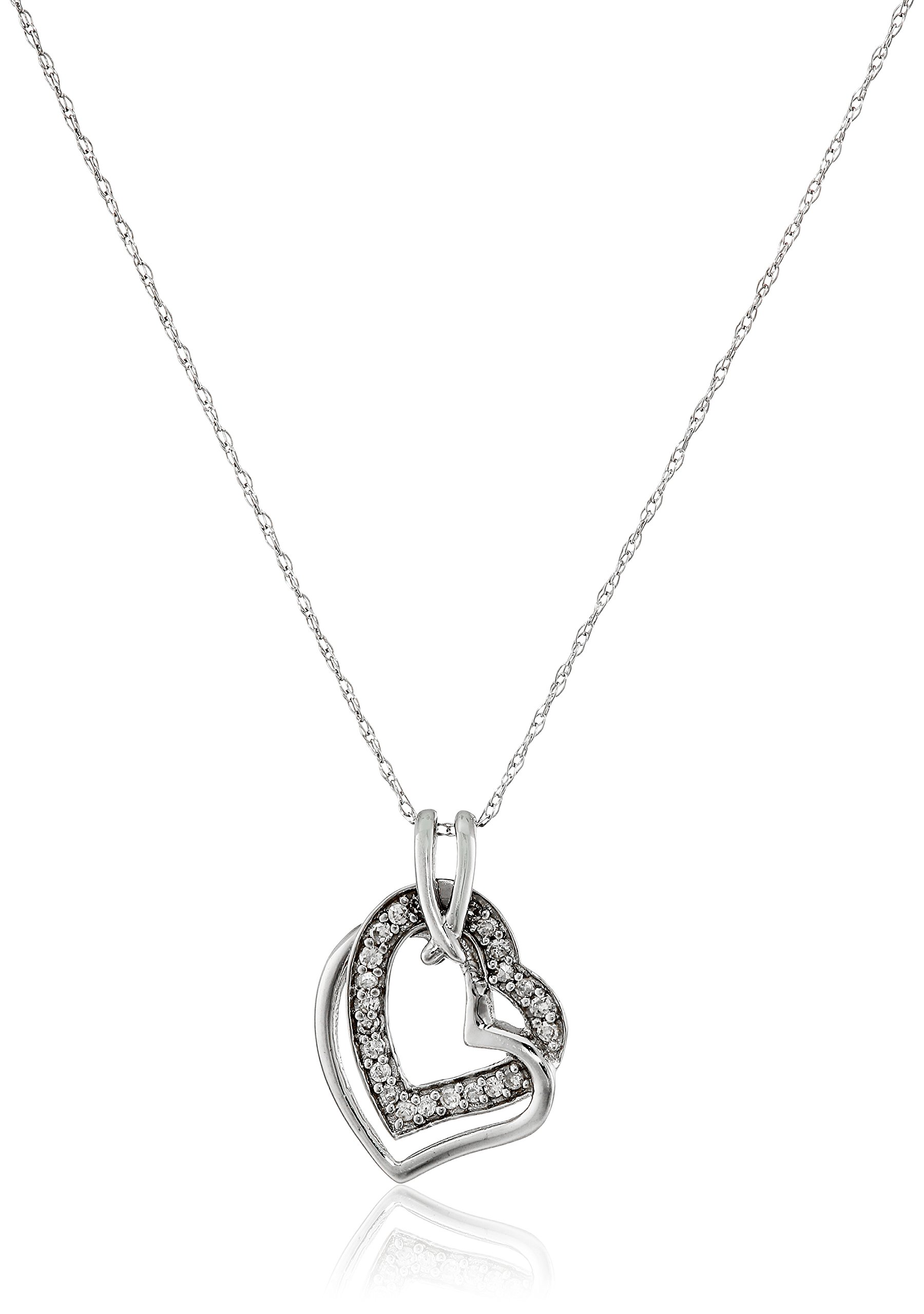 10k White Gold Diamond Heart Pendant Necklace (1/10cttw, I-J Color, I2-I3 Clarity), 18''
