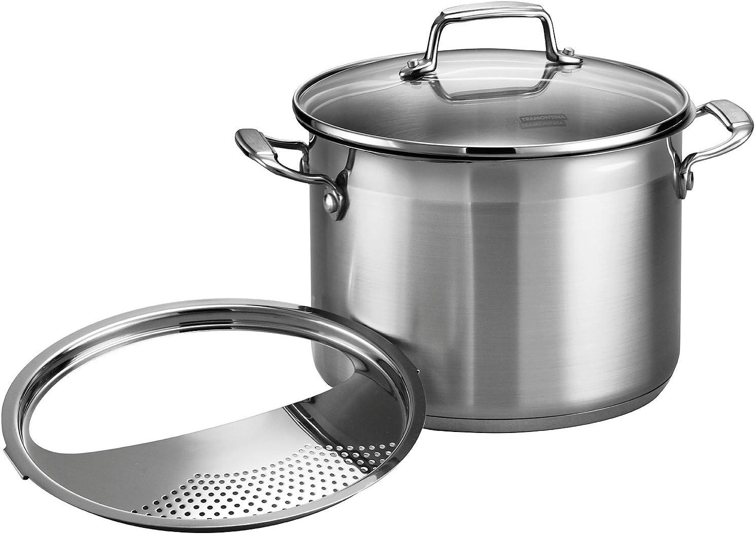 Tramontina 80120/200DS Gourmet Stainless Steel Pasta Cooker, 3-Piece 6-Quart