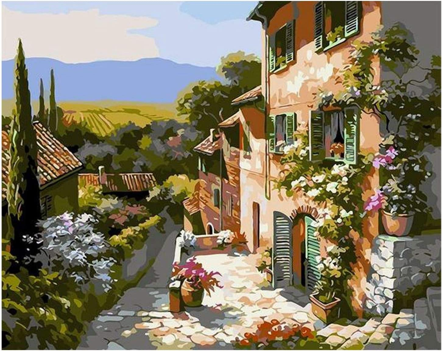 Fauge Tuscany Street Landscape Paint By Number Kit Acrylic Oil Painting for Kids /& Adults 16X20Inch