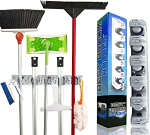 Best Broom Holder The Most Powerful Grippers Mop Broom Holder. 2 Pcs 100% Secure Non-Slide & Sturdy Wall Mount Broom Mop Holder & Organizer Effortless Installation (Screws Included). 10.2