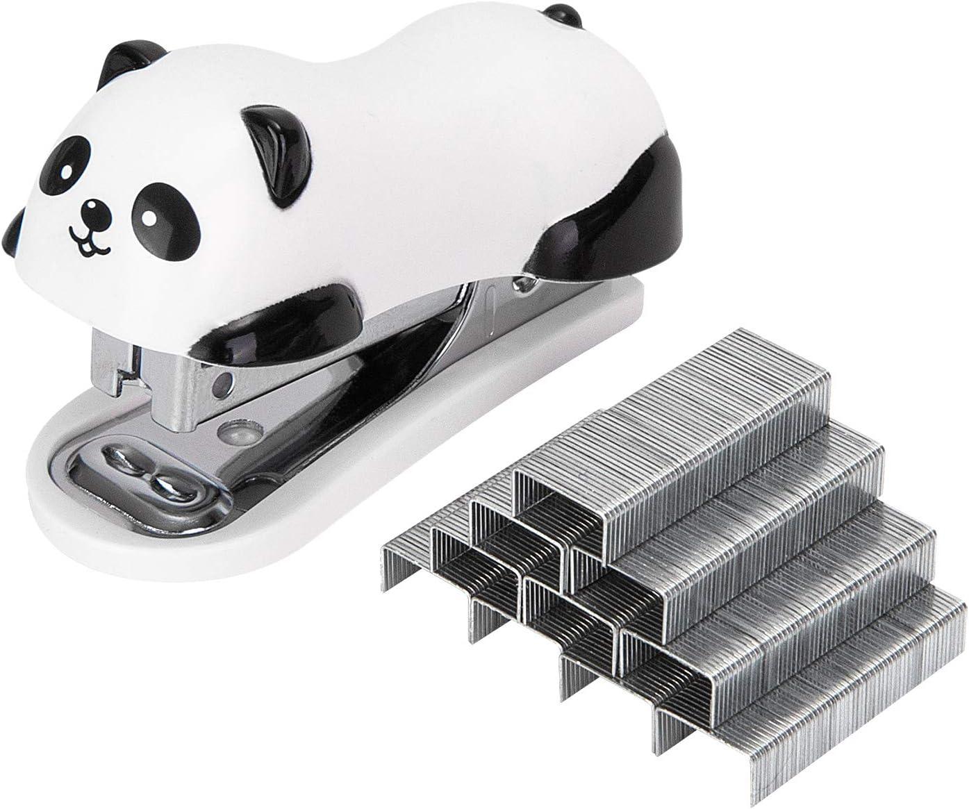 Deli Mini Cute Panda Desktop Stapler, Office Stapler, 12 Sheet Capacity, Includes Built-in Staple Remover & 1000PCS No.10 Staples