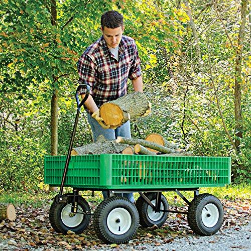 A.M. Leonard Green Utility Wagon with Flat-Free Tires – 30 x 46 x 7.5 Inch Tray
