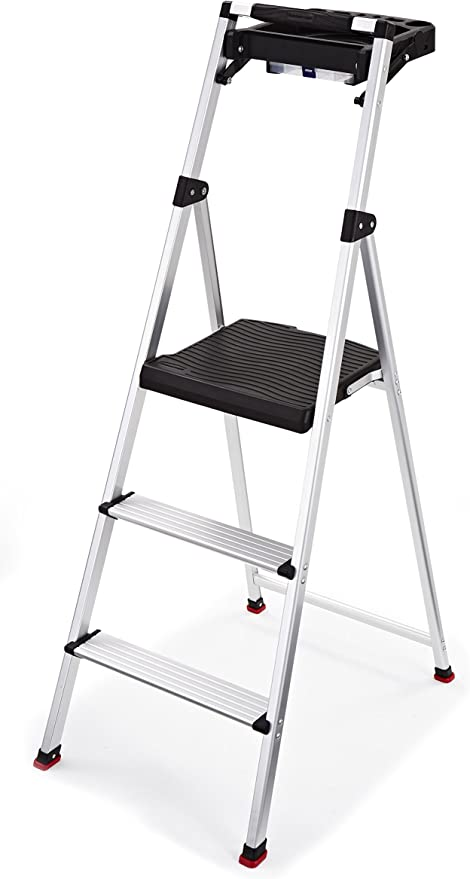 225-Pound Capacity Rubbermaid RM-AUL3G 3-Step Ultra-Light Aluminum Stool with Plastic Top Step Silver Finish