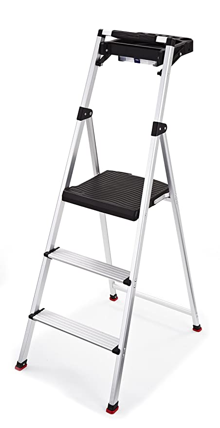 Marvelous Rubbermaid Rma 3T 3 Step Lightweight Aluminum Step Stool With Project Tray 225 Pound Capacity Machost Co Dining Chair Design Ideas Machostcouk