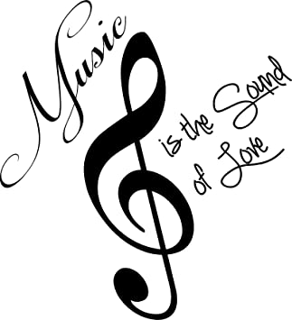 Amazon.com : Music is the sound of love cute wall art wall sayings quotes : Wall Banners : Patio, Lawn & Garden