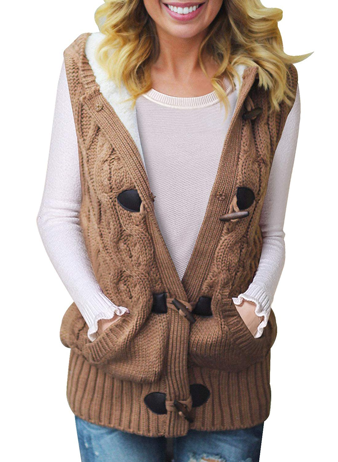 Happy Sailed Womens Button Down Cable Knit Hooded Sweater Vest Coat with Pockets