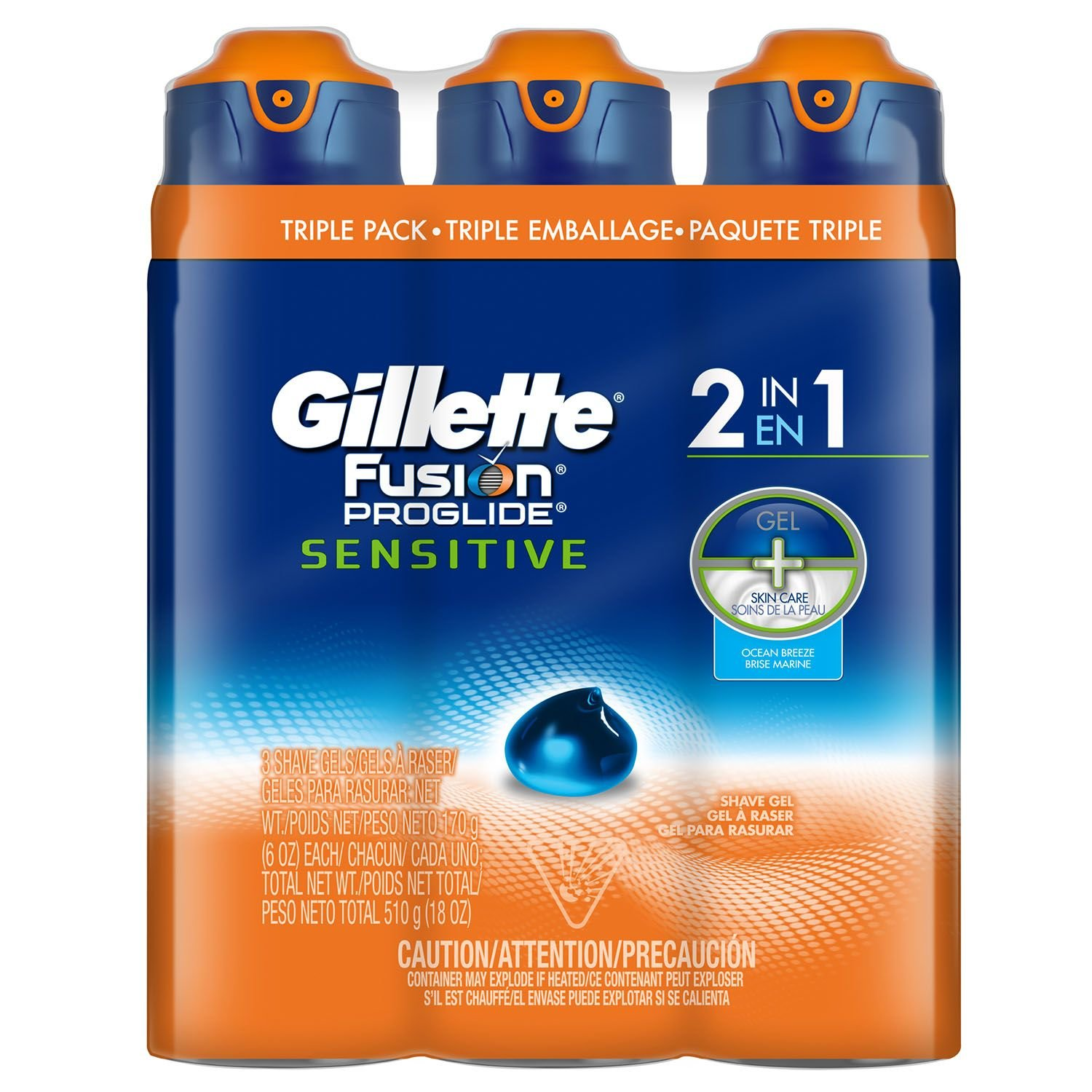Gillette Fusion ProGlide 2-in-1 Shave Gel, Ocean Breeze (6 oz, 3 pk.) ES
