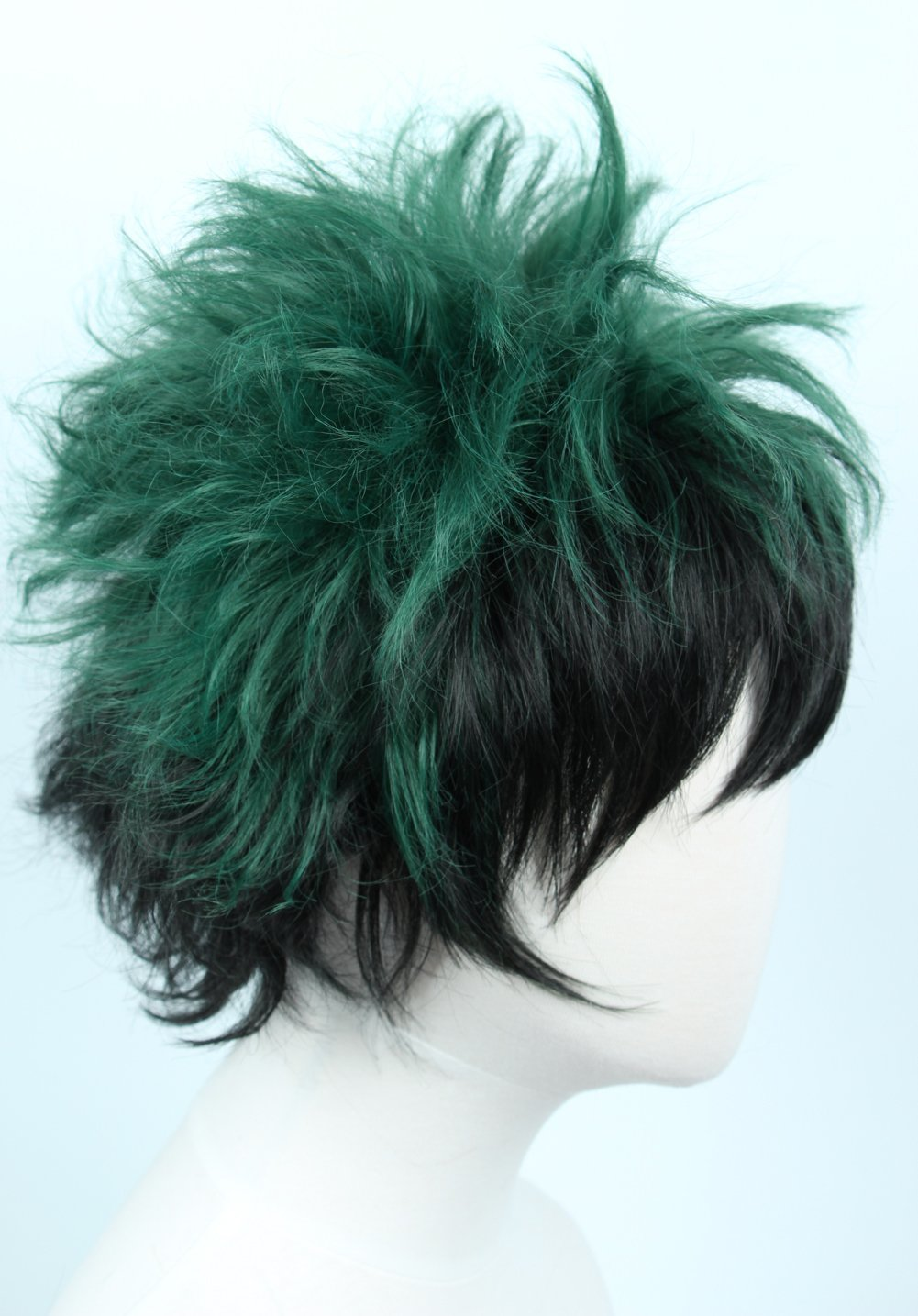 Linfairy Anime Cosplay Wig Short Black Green Halloween Costume Curly Wig by Linfairy (Image #3)