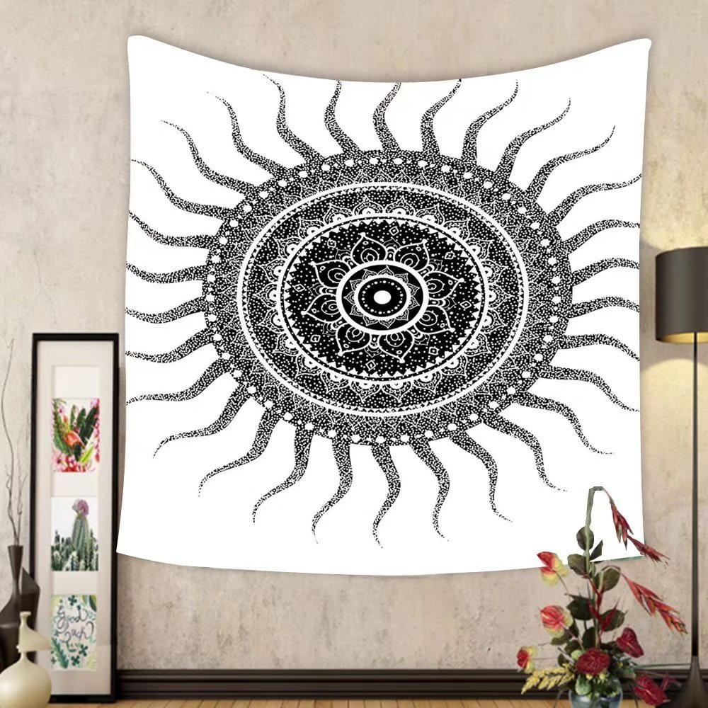 Gzhihine Custom tapestry Mandala Decor Tapestry Classic India Style Sun and Beams like Oriental Figures Decorative Print for Bedroom Living Room Dorm 80WX60L Black and White