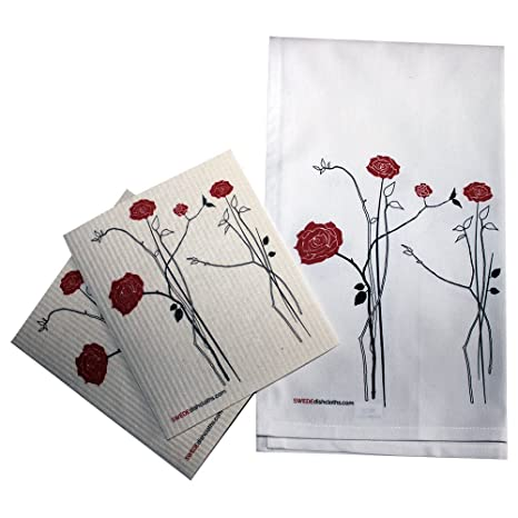 Sueco (/Plain Weave cocina juego de toallas por swededishcloths | 2 cada rojo Rosas