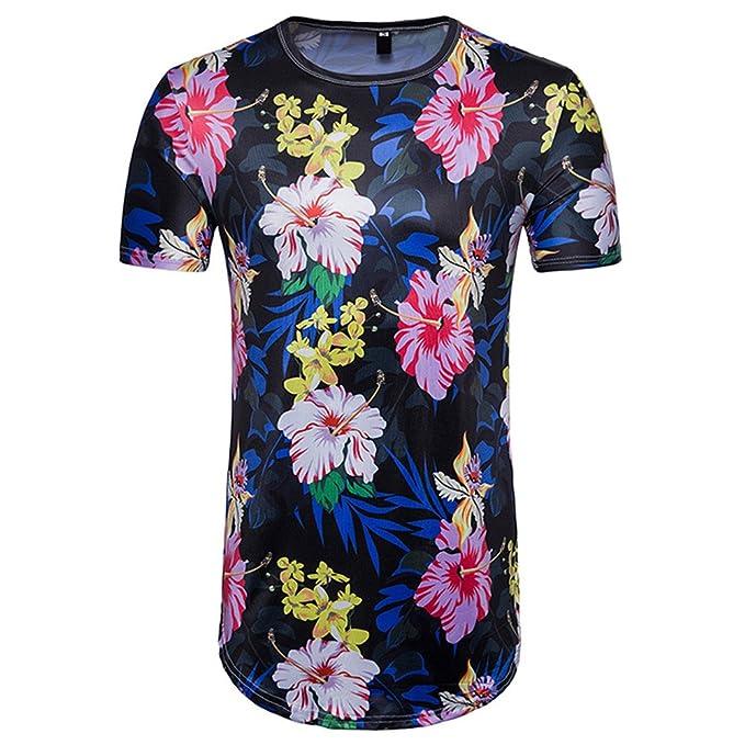 c6c28e04e JUTOO 2019 Moda para Hombres Flor de Planta de Verano Estampado 3D ...