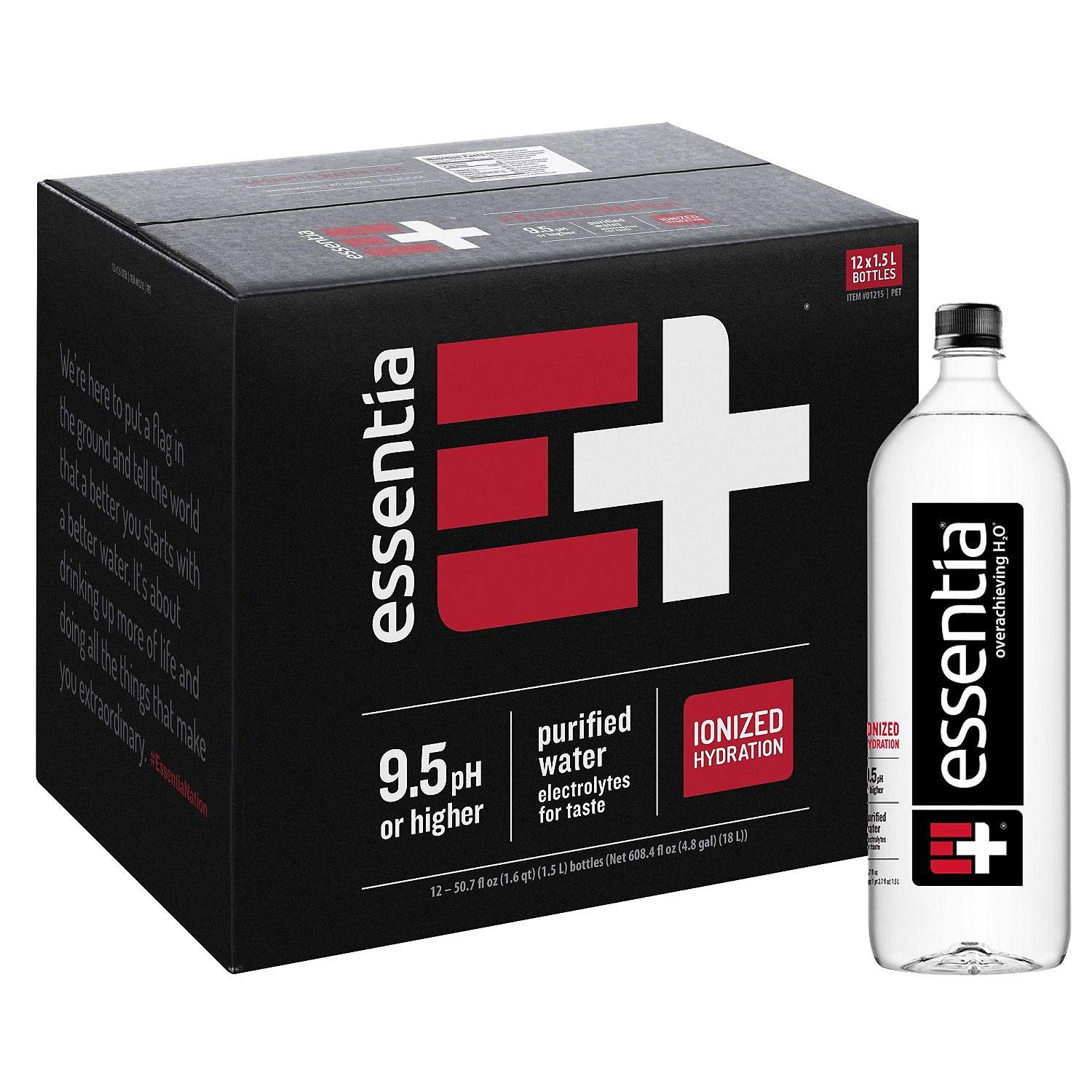 Essentia Water; 1.5-Liter Bottles; Ionized and Alkaline Hydration; Mineral Infused with 9.5 pH or Higher; Electrolytes for Taste; Pure Drinking Water 50.7 Fl. Oz. - Pack of 36 by Essentia Water LLC