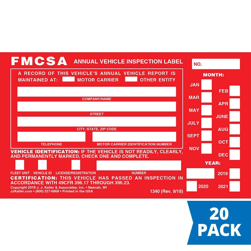 FMCSA Annual Vehicle Inspection Label - Aluminum with Punch Boxes - 20-Pack - Permanent Self Adhesive - 3.5'' x 6'', English - J. J. Keller & Associates by J. J. Keller & Associates, Inc.