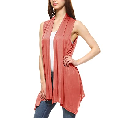 89b572661101eb Fashionazzle Women s Lightweight Sleeveless Open Drape Cardigan Vest  (Small