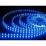 JnDee Bande LED bleue flexible lumineuse de 1M étanche à l'eau- Ruban de 1 Mètres avec 60 LED SMD 12V DC - idéal pour les cuisines, éclairage de maison, bar, restaurant, etc...