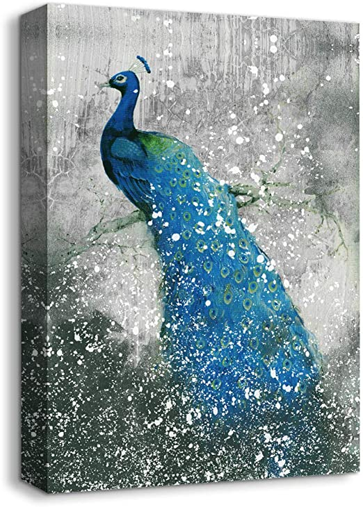 Animal Oil Art Painting HD Canvas Print Peacock Forest Giclee 24x36/'/' Unframed