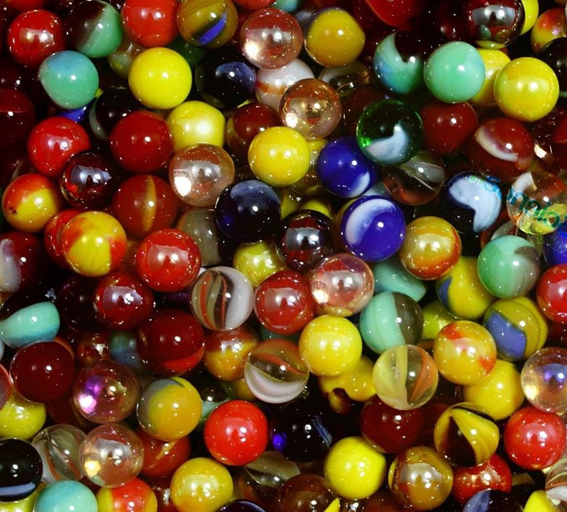 """Unique & Custom {1/2'' Inch} Set Of 1000 Small """"Round"""" Clear & Opaque Marbles Made of Glass for Filling Vases, Games & Decor w/ Vibrant Swirled Simple Classic Bold Fun Design [Assorted Colors]"""